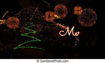 Merry Christmas' text animation with pine tree and fireworks