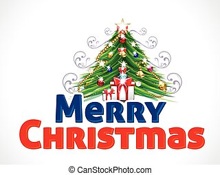 Merry Christmas Text Background with Tree vector illustration