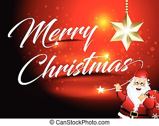 merry Christmas text background with Santa vector illustration