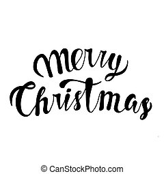 Merry Christmas text. Black typography on white background