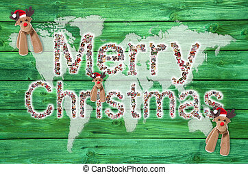 Merry christmas text for around the world with map or globe in g
