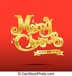 Merry Christmas text free hand design
