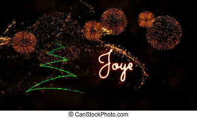 Merry Christmas' text in French 'Joyeux Noel' animation with...