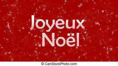 "Merry Christmas text in French ""Joyeux Noel"" on red..."