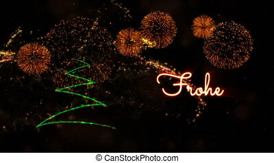 Weihnachten Animation.Merry Christmas Text Animation With Pine Tree And Fireworks Merry