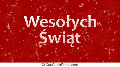 "Merry Christmas text in Polish ""Wesolych Swiat"" on red..."