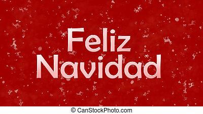 "Merry Christmas text in Spanish ""Feliz Navidad"" on red background"