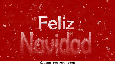 """Merry Christmas text in Spanish """"Feliz Navidad"""" turns to dust from bottom on red background"""
