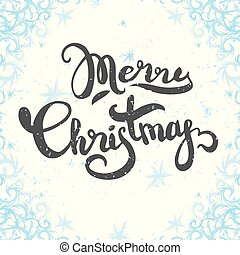 Merry Christmas text label on a winter background.