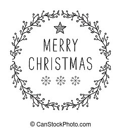 Merry Christmas text - lettering design with snowflakes