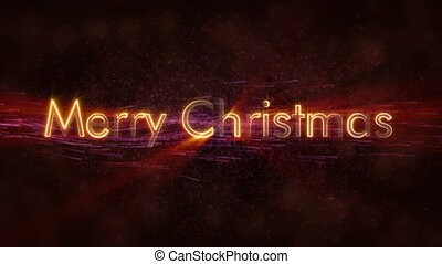 """""""Merry Christmas"""" text loop animation over dark animated background"""