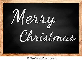 Merry Christmas text on chalkboard.
