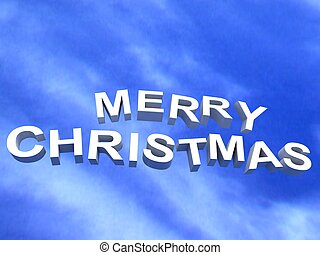 merry christmas text on cloudy background