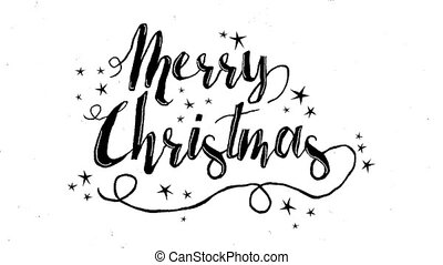 Merry Christmas typography animation of xmas quote on isolated white background with handmade doodle art for video greeting card or celebration event presentation. 4k holiday footage.