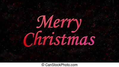 Merry Christmas text turns to dust from bottom on black animated background