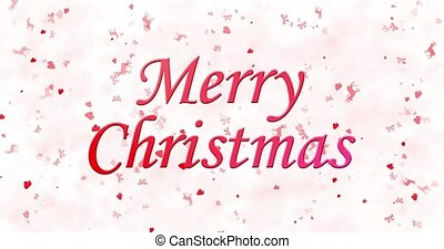 Merry Christmas text turns to dust from bottom on white animated background