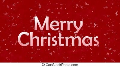 Merry Christmas text turns to dust from bottom on red animated background
