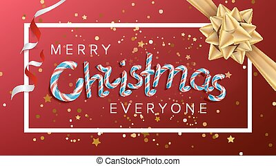 Merry Christmas Text Vector. Realistic Bow. Christmas Greeting Card. Modern New Year Poster, Brochure, Flyer Template Design. Holiday Illustration