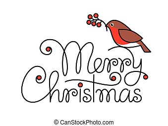 Merry christmas hand lettering text with bullfinch and branch