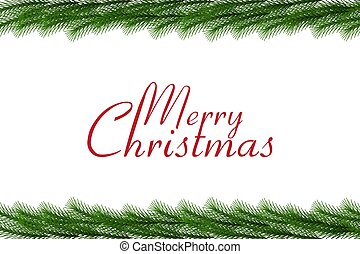 Merry Christmas text with christmas garland, vector border