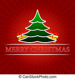 merry christmas - text with green christmas tree and golden gift boxes signs over red rays