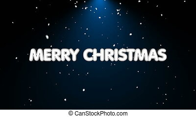 Merry christmas text with snow and light