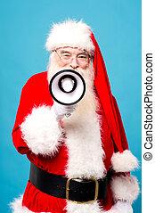 Santa claus talking over loudhailer