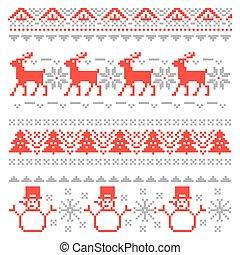 Merry Christmas Traditional Scandinavian Knitting Pixel...