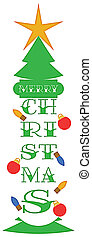 Merry Christmas Tree and Star Greeting with Clipping Path on White