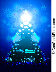 merry christmas tree blue sparkle bright colorful card vector