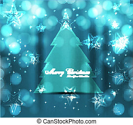 merry christmas tree bright colorful blue Vector background