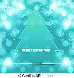 merry christmas tree bright colorful blue Vector design