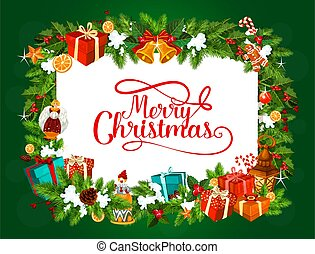 Merry Christmas tree gifts vector greetings
