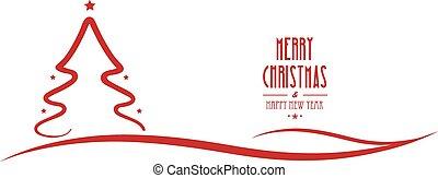 merry christmas tree line red stars