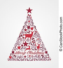 Merry Christmas tree shape with red reindeers and winter elements composition. EPS10 vector file organized in layers for easy editing.
