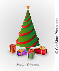 Merry Christmas tree with presents EPS10 file. - Merry...