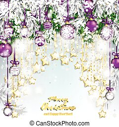 Merry Christmas Twigs Purple Baubles Golden Stars Curtain