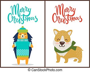 Merry Christmas Two Bright Congratulation Posters
