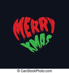 Merry Christmas typography in heart shape, splatter style.