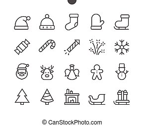 Merry Christmas UI Pixel Perfect Well-crafted Vector Thin Line Icons 48x48 Ready for 24x24 Grid for Web Graphics and Apps with Editable Stroke. Simple Minimal Pictogram