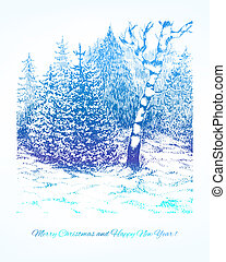 Merry Christmas vector background. Winter forest landscape.