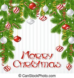 Merry Christmas vector background with glossy balls. -...