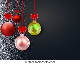Merry Christmas vector background with glossy balls.Silver glitter