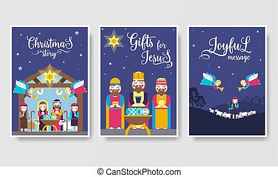 Merry Christmas  vector brochure cards set. birth of Christ template of flyear, magazines, posters, book cover, banners. Layout elements  illustrations modern pages.