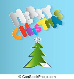 Merry Christmas Vector Card. Paper Cut Tree with Colorful Merry Christmas Letters.