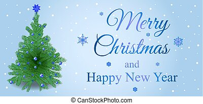 Merry Christmas vector card with christmas tree on blue background
