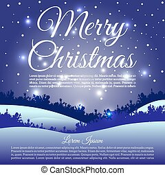 Merry Christmas vector card with landscape silhouette in blue color