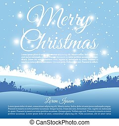 Merry Christmas vector card with landscape silhouette in light blue color