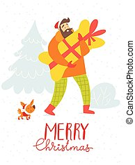 Merry Christmas vector card with shopping man with a dog