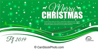 Merry Christmas vector card with snowflake on green background